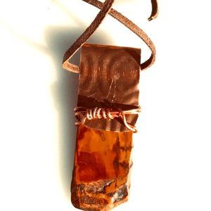 Picasso Jasper  Pendant Necklace Copper Wrapped